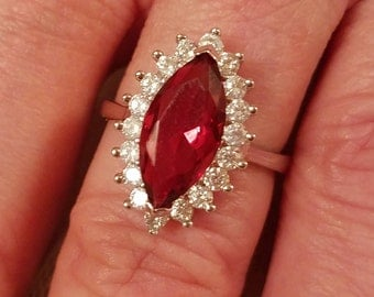 Engagement Ruby & White Topaz Marquise Cut Gemstone Sterling Silver Ring, 3 ct.  Size - 7