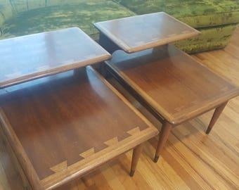 Vintage Lane Acclaim Pair Side End Tables Mid Century Step Style Walnut Ash