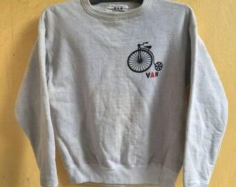 Rare Van jac van jacket velvet vintage bicycle print crewneck knitwear sweatshirts sweaters top japan brand