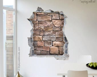Stones Wall Decal, Bricks Wall Sticker Mural, Hole In The Wall 3d Effect  Wall Part 87