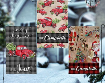 Personalized Christmas Garden House Flag - Vintage Christmas Truck and Holiday Trees Christmas Garden House Flag