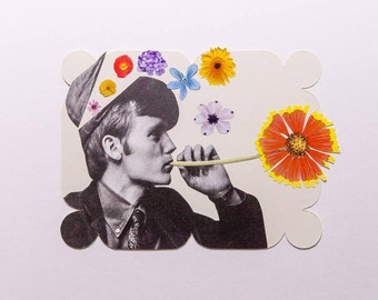 man with flowers, original paper collage