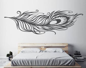 Bedroom Decor, Wall Art, Feather Decal, Wall Art Feather, Wall Decal,