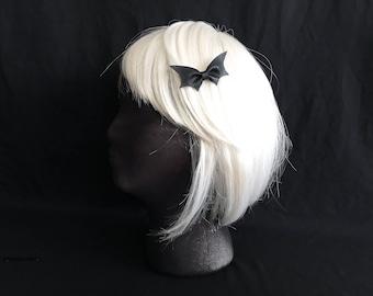 bat hair clip || black bat hair bow  || faux vegan leather || bat hair pin || bat barrette || witchy || goth hair pin || halloween hair bow