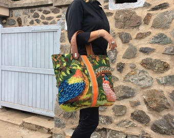 Embroidery and leather bag
