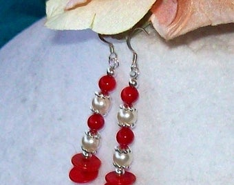 Coral earrings with Swarovski pearls 6 mm Silver 925 of hardware-unique piece.