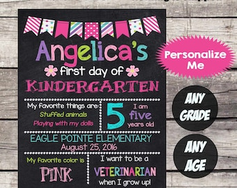 First Day of KINDERGARTEN Sign First Day of School sign First Day of School Chalkboard Printable Personalized Back to School Sign ANYGRADE#3