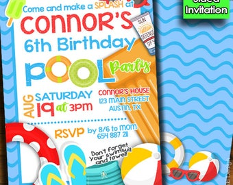 Pool party invitation, swimming party invitation, summer party, splish splash, girls boys birthday invitations, summer bash birthday BK-2