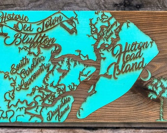 Hilton Head, Bluffton, Lowcountry, Daufuskie island wood engraved map, Lowcountry Gift, Smaller Sign