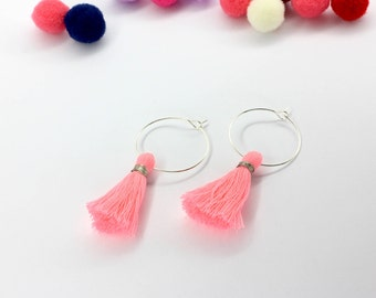 FREE SHIPPING - Hoop tassel earrings (neon pink)