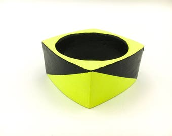 Handmade  bright geometric chunky wooden statement bangle in neon yellow