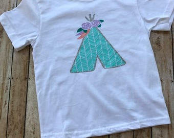 Teepee Shirt, Girl's Tribal Shirt, Fall Shirt, Thanksgiving Shirt, Girl's Fall Shirt, Personalized Shirt