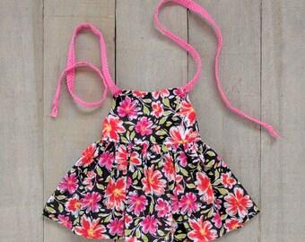 Modern Doll Clothes - Black Floral Halter Dress