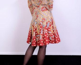 Vintage box pleat 70's inspired dress