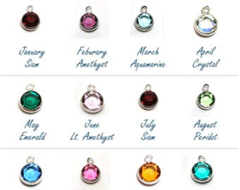 BIRTHSTONE to your item-Add a CHARM to your item-6mm swarovski crystal-Sterling silver plated-must be accompanied with another item