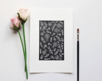 """White Flowers Ink Drawing, Original Ink Drawing, 6"""" x 9"""""""