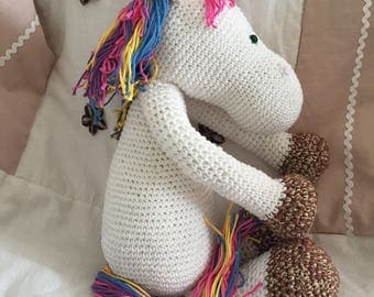 Crochet unicorn with the colorful mane MADE TO ORDER