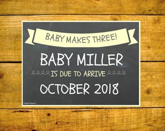 Baby Announcement, Pregnancy Announcement, Printable Pregnancy, Chalkboard Pregnancy, Printable Announcement, Baby Makes Three