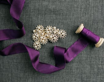 Plum Purple Silk Ribbon; 100% Silk; Purple Wedding bridal bouquet, invitations, favors, wedding photography styling