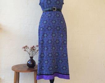 90s Mandala Midi Dress / boho / hippie / blue