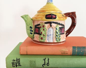 Vintage English Cottage Ceramic House Teapot - Bohemian Boho Eclectic Decor Style Home - baby child girl nursery room #0547