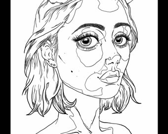 Drawing Portrait Fawn Lady with Vitiligo, Black and Write