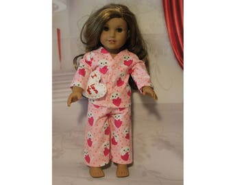 "Clothes only, American Girl doll not included. Hearts & Kittens Flannel Pajamas with Snaps and Heart I Love You Pillow  for 18"" Dolls."