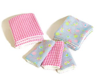 """Washable wipes Terry organic bamboo and cotton fabric """"candies"""""""
