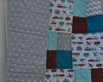 Transportation Themed Aqua and Red Baby Quilt