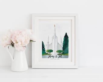 Portland LDS Temple Watercolor Painting | LDS Wedding Gift | LDS Baptism Gift | Customized Temple Painting