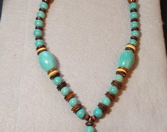 Turquoise Howlite Panther Necklace