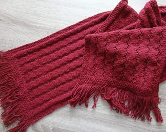 Hand Knit Scarf, Cherry Red Scarf, knitting pattern, knit scarf pattern, knit shawl, red knitted shawl