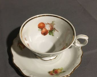 Vintage Bavaria Schuman Arzberg Germany Tea Cup and Saucer Chestnut (main) Pear & Strawberry Gold Trim