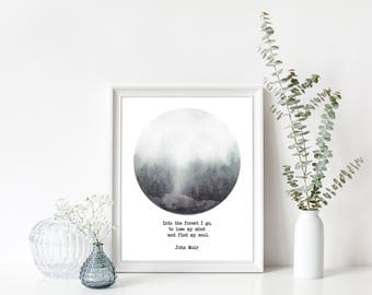 Nature print, Foggy Forest, Forest Print, Forest Photography, Circle Print, Misty Forest, Scandinavian,John Muir Quote,Nordic Art,Minimalism