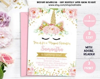 Unicorn Invitation, Magical Unicorn 1st Birthday, First Floral, Pink and Gold, Rainbow, Pastel, Editable invite Templates Intant download
