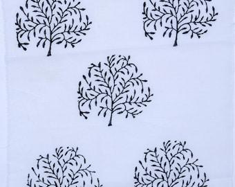 Hand block Tree Plant Print fabric,2 Color variation Black & Orange Color , 1 Yard