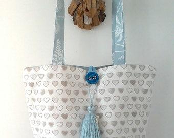 Heart Print Bucket Bag, shopping bag, beach bag