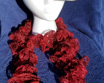 Ruby Red Ruffle Scarf