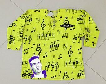 Vanilla Ice shirt yellow neon vintage 1992 T shirt - men Size XL