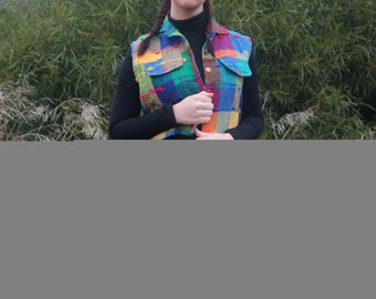 Colourful Guatemalan waistcoat with pockets and buttons at the front size S