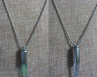 Bullet Casing Necklace - with Green or Clear Quartz Crystal, 9mm