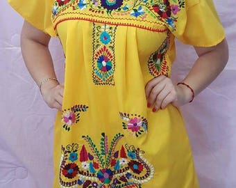 Yellow Traditional Embroidered Mexican Dress