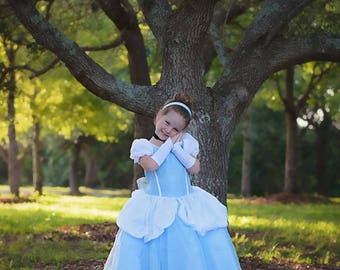 Cinderella Dress / Disney Princess Dress Inspired Costume Ball Gown - Classic - Kids, Girls, Toddler, Child, baby