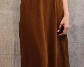 Vintage Faux Suede Tea Length Skirt