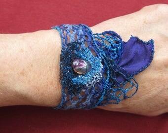 Art textile-completely handmade CHANDANI lace Cuff Bracelet