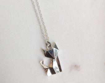 Origami Fox Necklace, Fox Necklace, Fox Jewellery