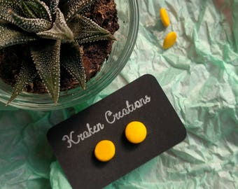 Sunshine yellow polymer clay stud earrings