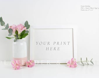 Styled stock photography, Frame mockup, white frame and pink flowers, Product mockup , instant download, high res jpg, Stock image