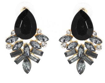 Black Sparkly Statement Earring
