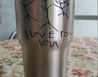 Your Child's Artwork on 30oz Stainless Steel Tumbler Personalized